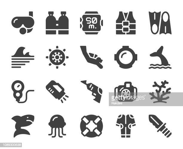 scuba diving and snorkeling - icons - diving stock illustrations