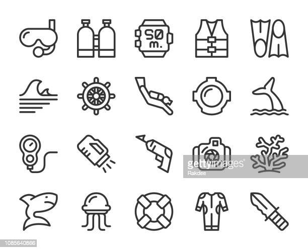 scuba diving and snorkeling - line icons - diving stock illustrations