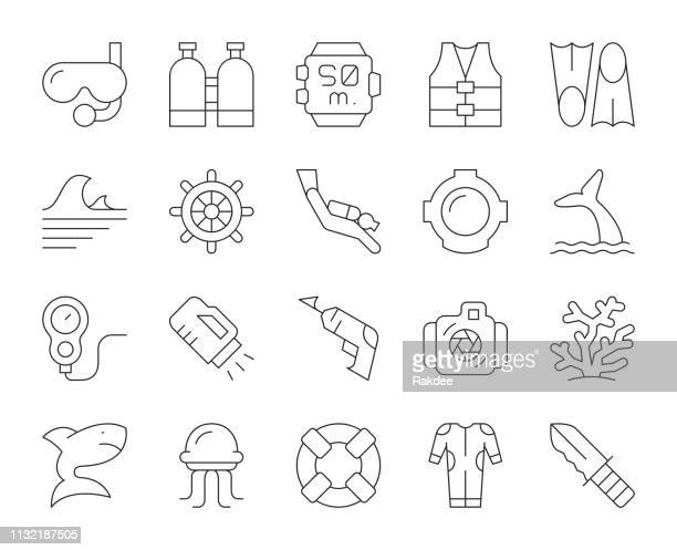 scuba diving and snorkeling - thin line icons - diving flipper stock illustrations, clip art, cartoons, & icons