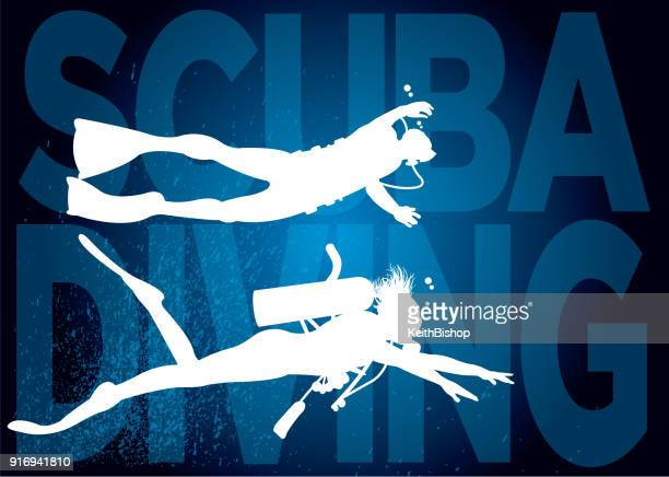 scuba diving, aquatic sport, underwater, swimming - scuba diving stock illustrations