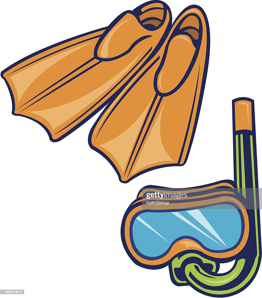 Scuba Diving Equipment Snorkel, Mask and Flippers : stock illustration
