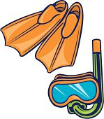 Scuba Diving Equipment Snorkel, Mask and Flippers