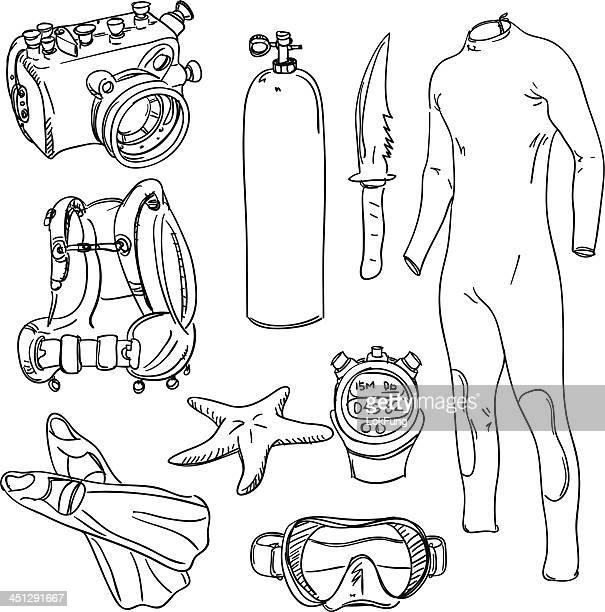 scuba diving equipment - diving flipper stock illustrations, clip art, cartoons, & icons