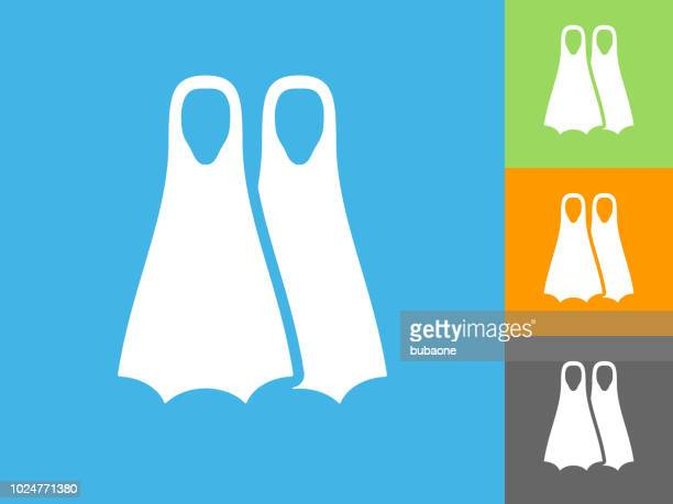 scuba diving fins  flat icon on blue background - diving flipper stock illustrations, clip art, cartoons, & icons