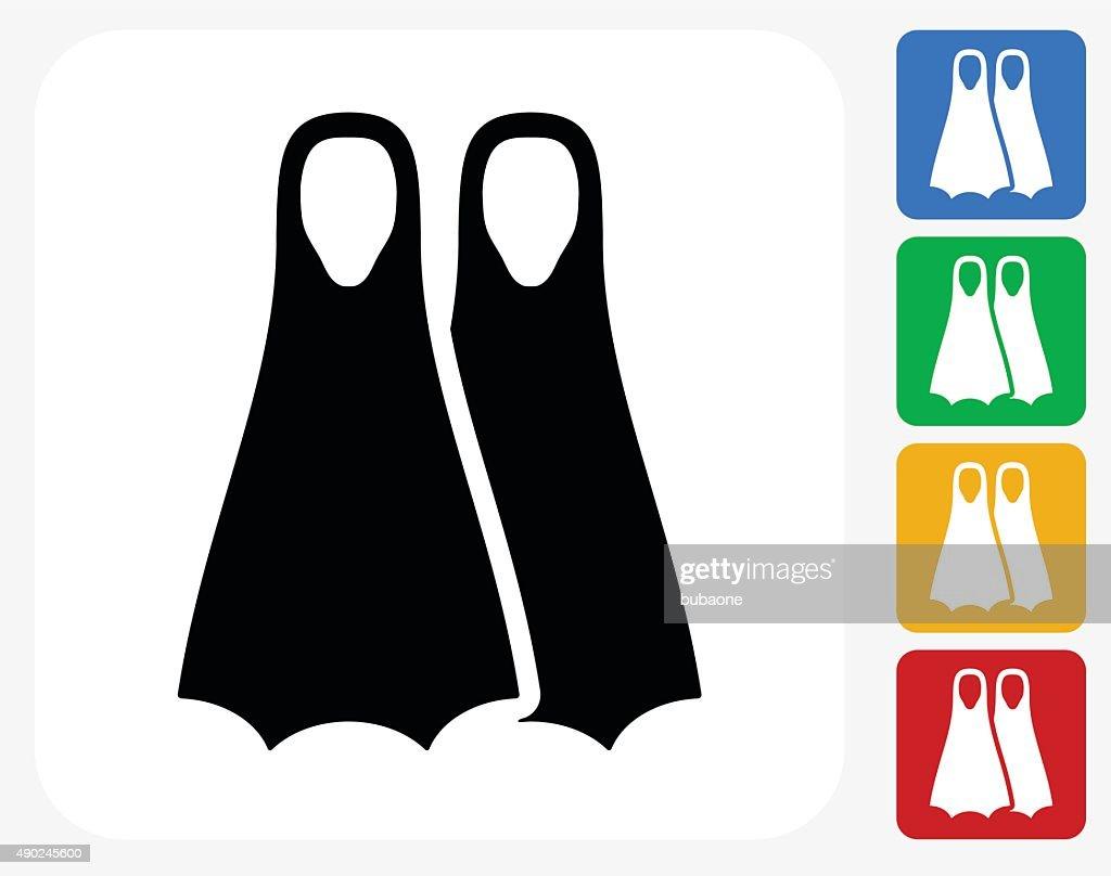 Scuba diving Fins Icon Flat Graphic Design : stock illustration