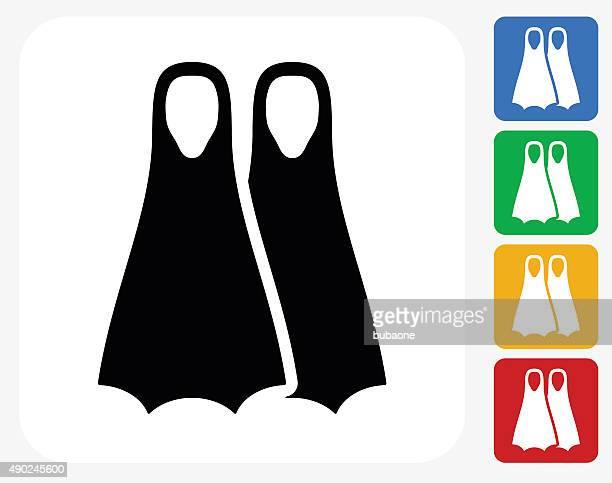 scuba diving fins icon flat graphic design - diving flipper stock illustrations, clip art, cartoons, & icons