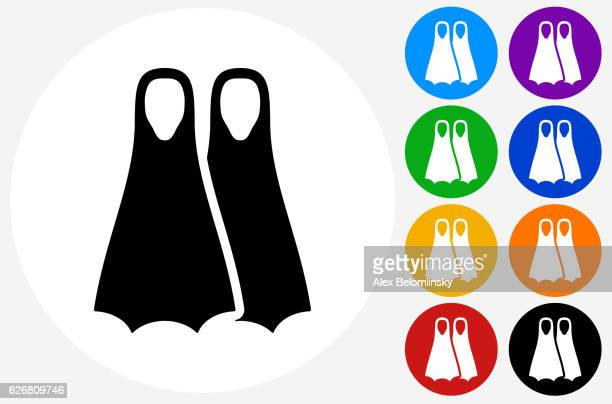 scuba diving fins icon on flat color circle buttons - diving flipper stock illustrations, clip art, cartoons, & icons