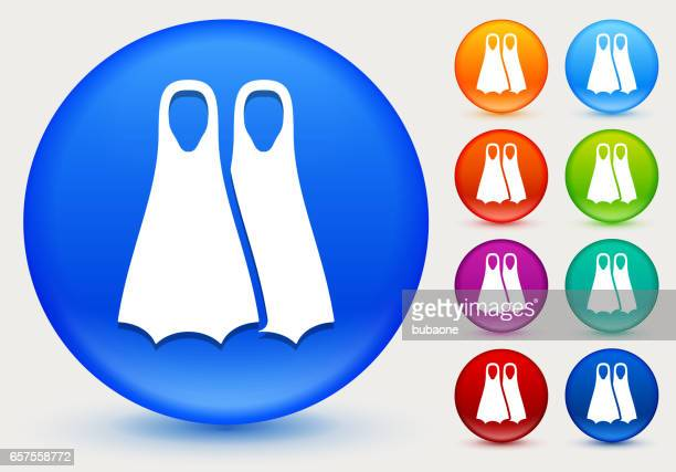 scuba diving fins icon on shiny color circle buttons - diving flipper stock illustrations, clip art, cartoons, & icons