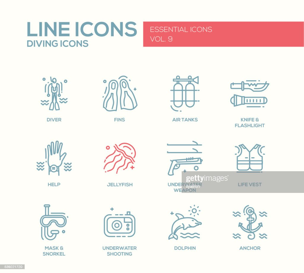 Scuba Diving line design icons set