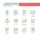 Scuba Diving line design icons set