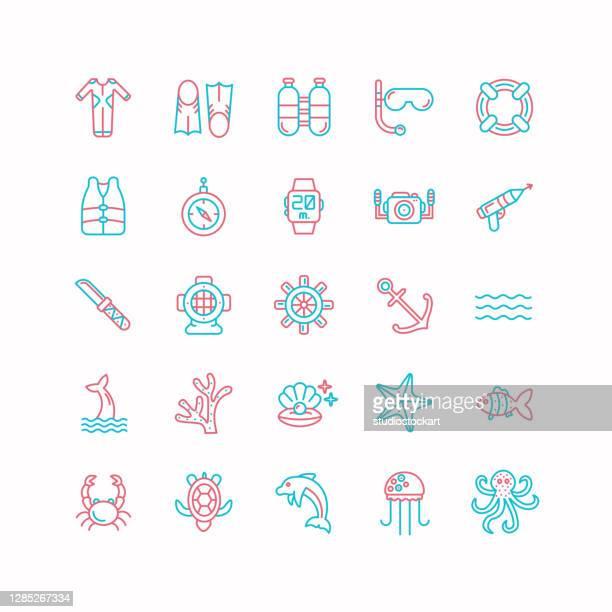 scuba diving line icons - scuba mask stock illustrations
