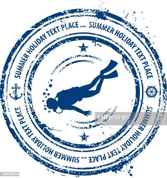 scuba diving rubber stamp - scuba diving stock illustrations
