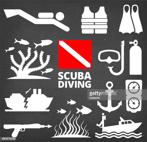 scuba diving summer chalkboard vector icon set - sport set competition round stock illustrations