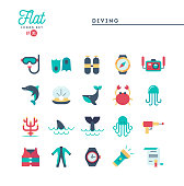 Scuba diving, underwater animals, equipment, certificate and more, flat icons set