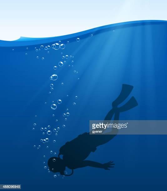 scuba diving - diving stock illustrations