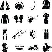 Scuba diving, vector illustration