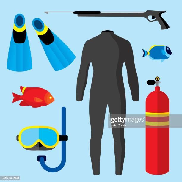 scuba items flat - diving stock illustrations