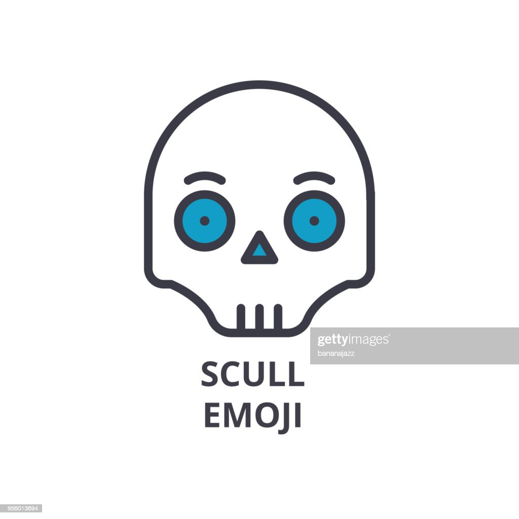 scull emoji vector line icon, sign, illustration on background, editable strokes