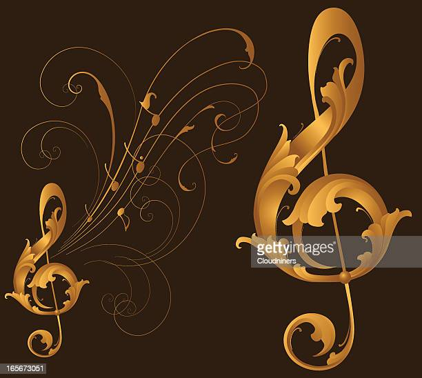 sculpted treble clef - treble clef stock illustrations, clip art, cartoons, & icons