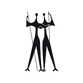 Sculpture of Two Warriors by artist Bruno Giorgi, Brasili icon in simple style