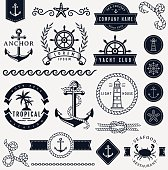 Sea and nautical design elements. Vector set.