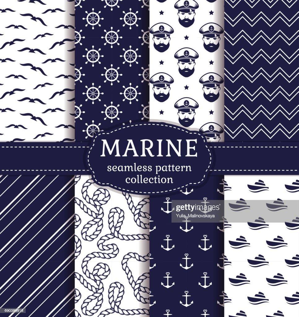 Sea and nautical seamless patterns set.