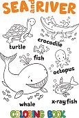 Sea and river coloring book set
