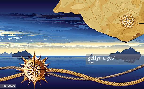 sea and ropes - seascape stock illustrations, clip art, cartoons, & icons