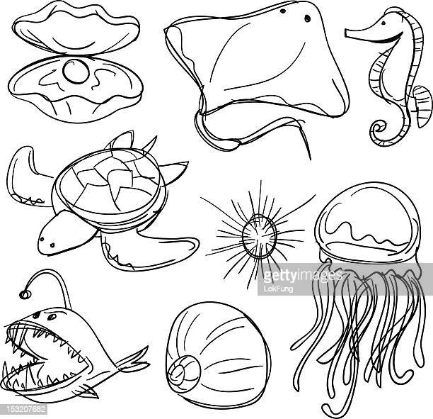 Sea Animals collection in Black and White