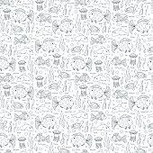Sea animals Seamless pattern. Fish background