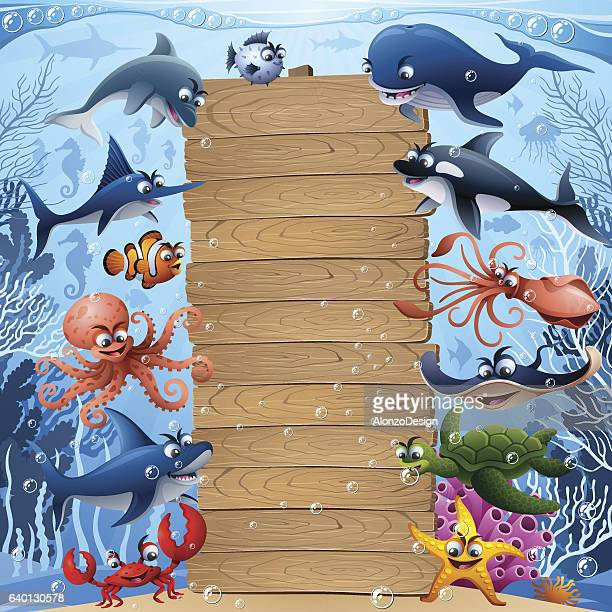 Sea Animals with Wooden Sign