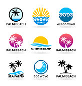Sea beach and palm trees. Logo design