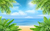 sea beach and tropical bushes