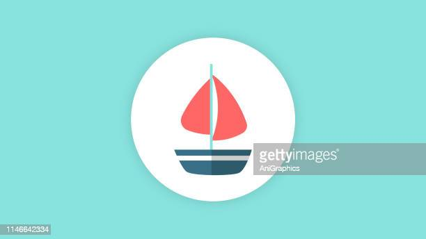 海のボートのアイコン