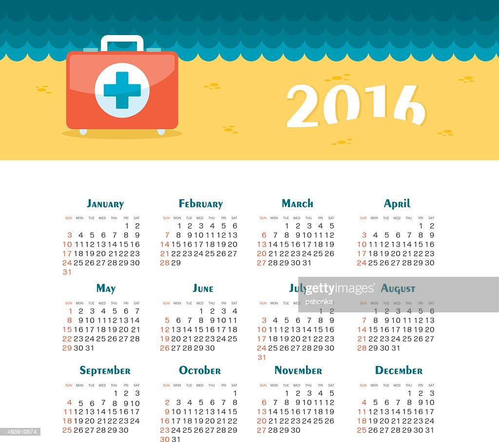 Sea Calendar for 2016. Week Starts Sunday.