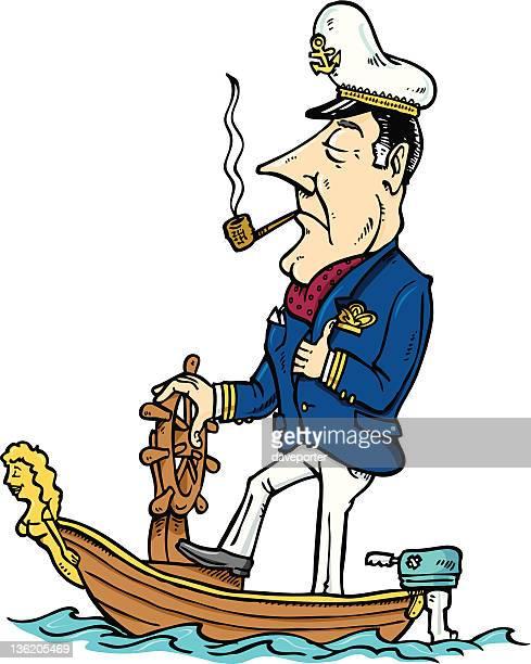 sea captain - boat captain stock illustrations, clip art, cartoons, & icons