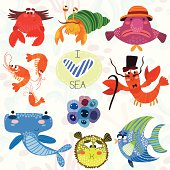 Sea collection.Bright hand drawn illustration in cute style.Herm