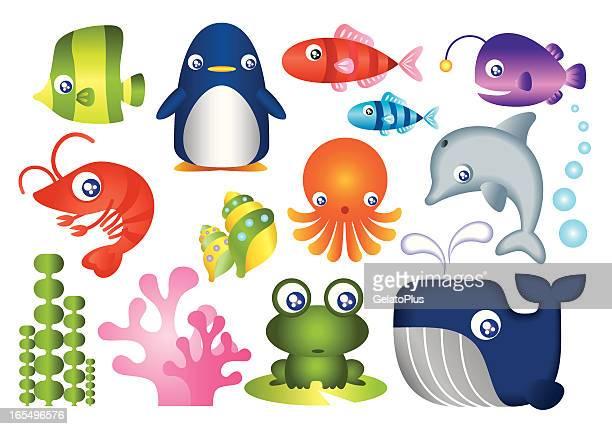 ilustraciones, imágenes clip art, dibujos animados e iconos de stock de criatura colección mar - vida marítima