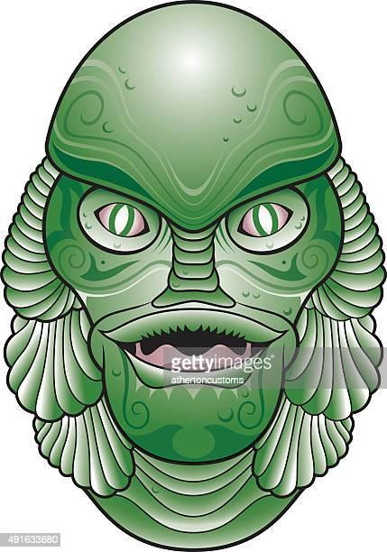sea creature head - lagoon stock illustrations