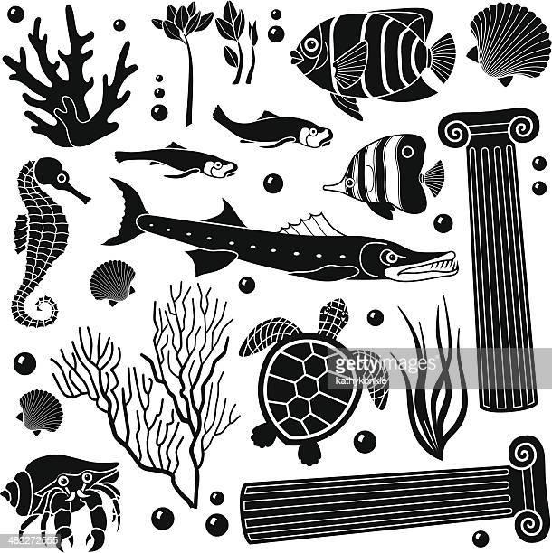 海の生き物デザイン要素 - 甲殻類点のイラスト素材/クリップアート素材/マンガ素材/アイコン素材