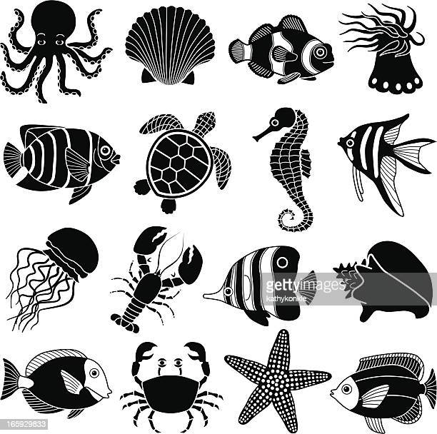 sea creatures icons - turtle stock illustrations