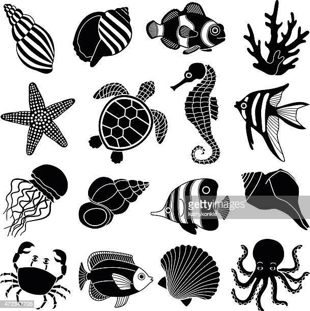 sea creatures icons - sea turtle stock illustrations
