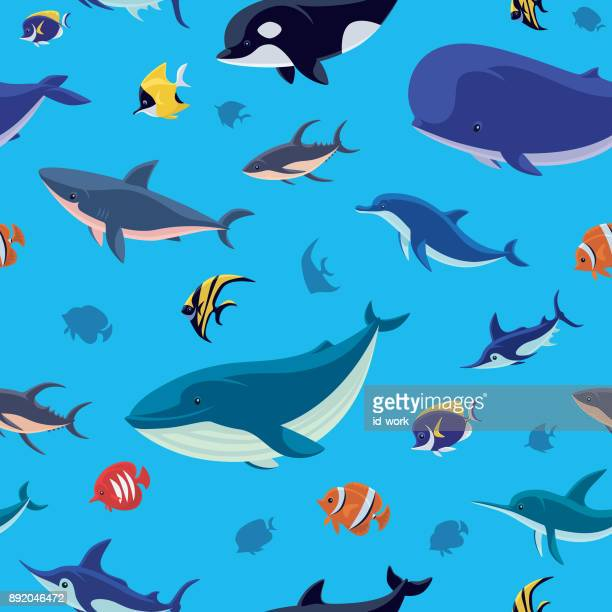 sea creatures seamless pattern - marlin stock illustrations, clip art, cartoons, & icons