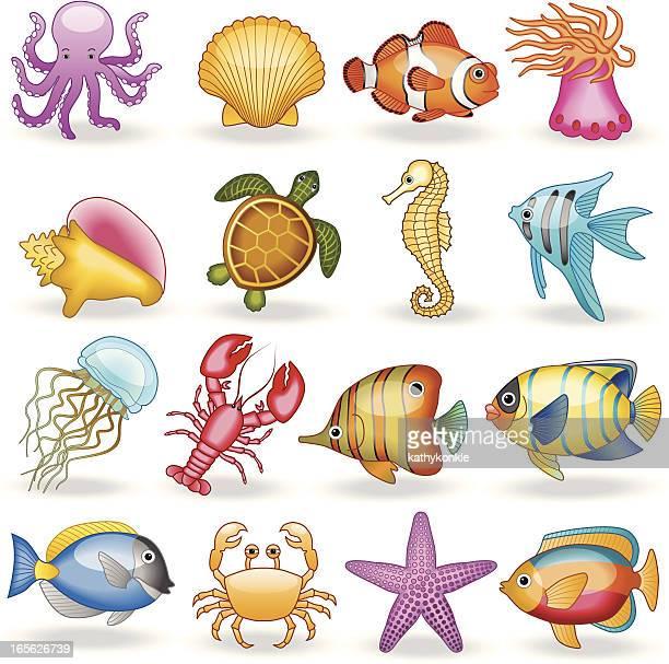 sea creatures - sea turtle stock illustrations