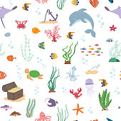 Sea fish, sea animals and water plant. Seamless pattern