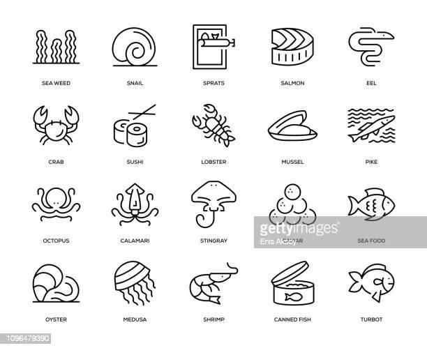illustrations, cliparts, dessins animés et icônes de sea food icon set - crabe