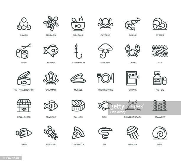 海の食べ物アイコンセット - フラットフィッシュ点のイラスト素材/クリップアート素材/マンガ素材/アイコン素材