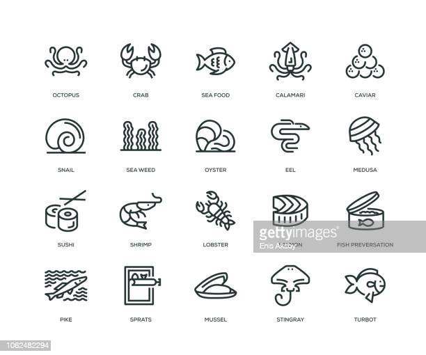 ilustrações, clipart, desenhos animados e ícones de ícones de comida do mar - linha série - camarões