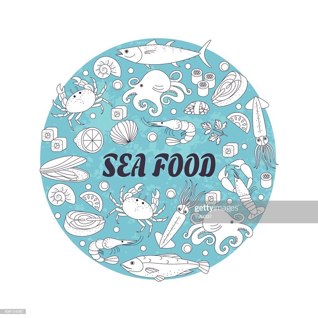 Sea food in a circle shape