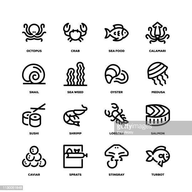 Sea Food Line Icons